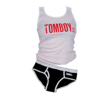 TomboyX Tank & Briefs - Black & White Combo