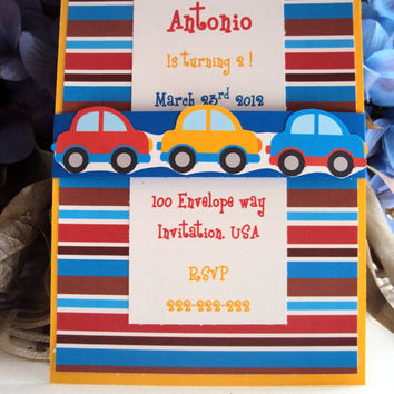 Cars Invitation, Car Birthday Invitation, Transportation Invitation
