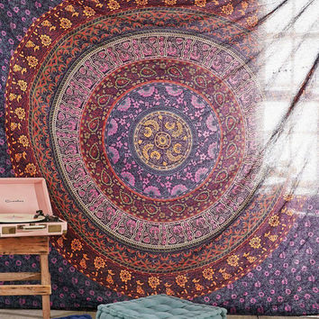 Queen floral manldala Hippie Indian Tapestry Round Mandala Throw Wall Hanging Gypsy Bedspread