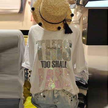 Women This too Shall Pass Sequin Tee
