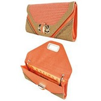 MMSCLZ9005 Perforated Croc Woven Clutch ORANGE