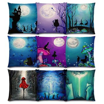 Alice Dreams Cute Cat Magical Moon Night Wonderland Emerald Forest Witches Halloween Dance Good Cushion Cover Pillow Case