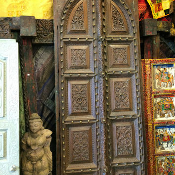 Antique Indian Doors Vintage Floral Carving Double Door Panels Yoga Interiors Sacred Spaces