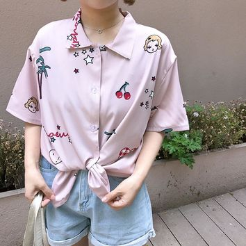 Kawaii Retro Digital Cherry Print Shirt