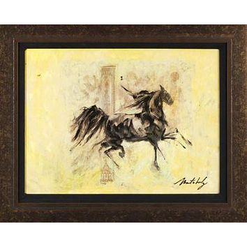 Horses Running V - Original Mixed Media Painting on Canvas by Marta Wiley