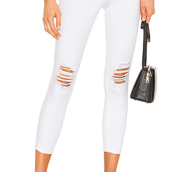 L'AGENCE Margot High Rise Skinny in Blanc Worn Destruct | REVOLVE