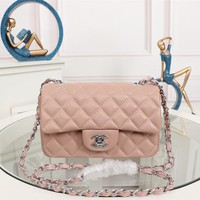HCXX 19July 053 A1116 Chain Emboss Single Shoulders Bag Classic Logo size 20-12-7cm pink sliver