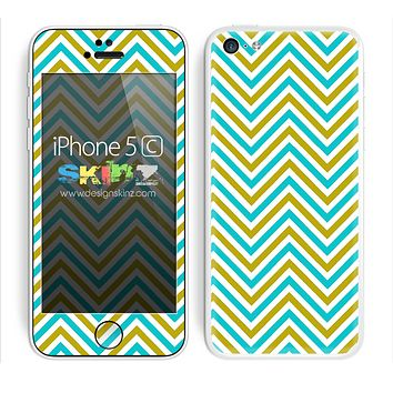 Chevron Pattern V2 Blue and Gold Skin For The iPhone 5c