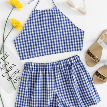 Knot Back Checked Halter Top With Shorts