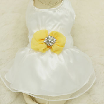 Yellow Dog Dress, Pet accessory, Beach wedding, Rhinestone, birthday