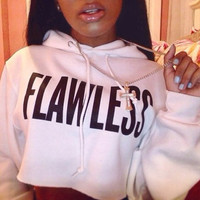 Bossshyt Flawless Womens Crop Hoodie Long Sleeve Jumper Hooded Pullover Coat Casual Sweatshirt Top -White/Black