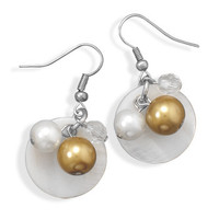 French Wire Fashion Earrings with Shell and Glass Beads