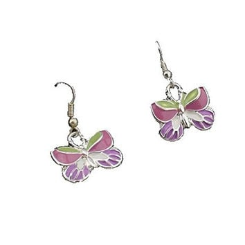 Basket Hill, Girls Butterfly Dangle Earrings ( Pink , Silver Tone)