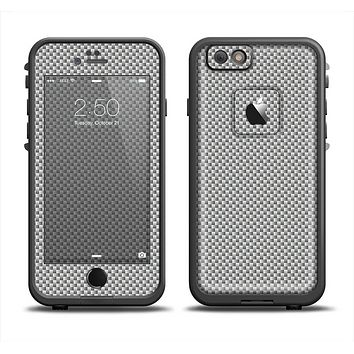 The Gray Carbon FIber Pattern Skin Set for the Apple iPhone 6 LifeProof Fre Case