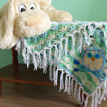 Owl crochet baby blanket-afghan-baby shower gift-boy's girl's-blue turquoise wrap-newborn blanket-kids-for photography prop-baby boy blanket
