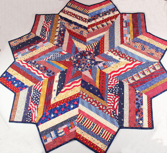 Patriotic quilt round table topper or from for Round table runner quilt pattern