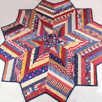 Patriotic Quilt Round Table Topper or Table Runner Quilts of Valor, Red White Blue Star