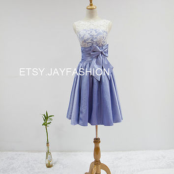Sexy short prom dress Ivory lace homecoming dress A-line Bridesmaid dress Custom Party dresses Blue Prom Dresses Evening Dresses