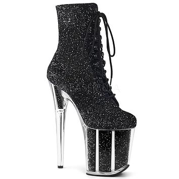 "Flamingo 1020G Black Glitter - 8"" Heel Ankle Boot"