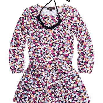 Long-Sleeve Pleated Floral Dress w/ Necklace, Multicolor, Size 4-6,