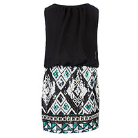 Ruby Rox 7-16 Blouson-Bodice Tribal-Printed-Skirt Dress - Aqua/Gold