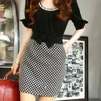 black & white short sleeve dress bow sale 023X from GHL