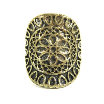 Celtic Ring Size 5 Gold Tone Geometric Circle Design RE45 Vintage Antique Fashion Jewelry