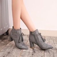 On Sale Hot Deal Matte High Heel Winter Tassels Shoes Pointed Toe Dr. Martens Boots [11882770831]