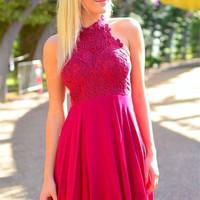 Red Homecoming Dress, Halter Lace Short Prom Dress