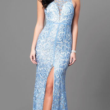 Lace Sleeveless Light Blue Prom Dress with Slit