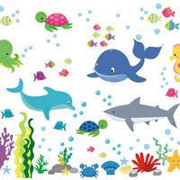 "Marine Life Wall Decals, Oceanic Wall Stickers, Aquarium Wall Decals, Shark Decal, Whale Decal, Seahorse Decal, Octopus Decal - 50"" x 65"""
