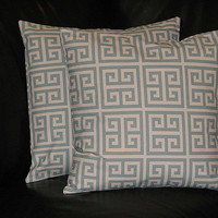 """spa BLUE & Natural Greek Key Accent Pillows 26"""" EURO Shams Decorative Pillow Covers 26x26 set of TWO"""