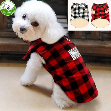 British Style Plaid Dog Vest Winter Windproof Pet Cotton Dog Jacket Coats Warm Dog Apparel For Cold Weather Small Medium Dogs