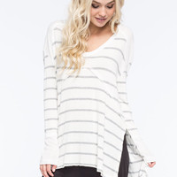 Blu Pepper Striped Womens Top White  In Sizes