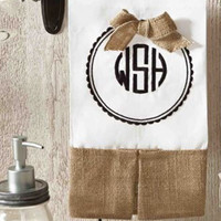 Monogrammed Kitchen Guest Tea Towel  Font Shown NATURAL CIRCLE in Black