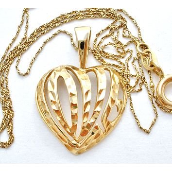 "14K Gold Diamond Heart Necklace 18"" Vintage"