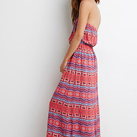 Strapless Tribal Print Maxi Dress