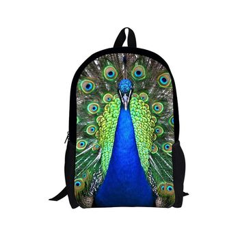 Trendy Children Striped Animal Zebra Backpack Peacock School Bags for Teenagers Girls Bagpack Mochila Kids Teenager Travel Bag