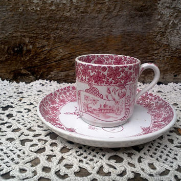 ANTIQUE Tea Cup, Childs Transferware, Red Copeland Spode, Aesthetic Movement, 2 Piece Set, Red Transferware, Serving, Circa 1800s, Ironstone