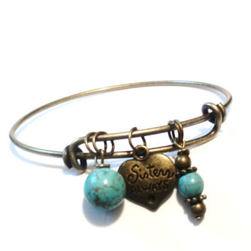 Sisters Always Bangle Bracelet Yoga Jewellery Turquoise Friends Forever Charm Bestie Charm Boho Adjustable Christmas Stocking Stuffer