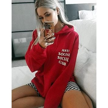 """Anti Social Social Club"" Trending Unisex Stylish Print Long Sleeve Hooded Sweater Top Red I12348-1"