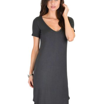 Lyss Loo Truly Madly Deep-V Neck Charcoal Sleep Dress