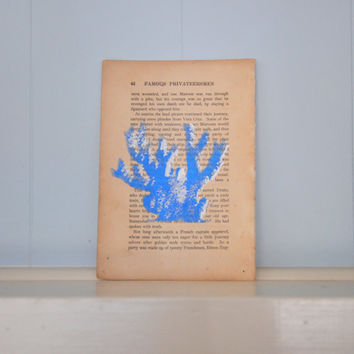 Coral painted book page | nautical wall decor | coastal art | beachy nursery painting | 1910s | upcycled book | blue coral | metallic blue
