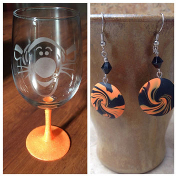 Gift Bundle Tigger etched Wine Glass and Earring