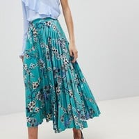 Gestuz Long Pleated Velvet Skirt With Flower Print at asos.com