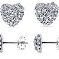 SWAROVSKI CRYSTAL 925 Silver Stud Earrings Heart Shape Cubic Zirconia Stones | AihaZone Store