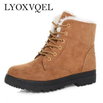 New Fashion Women's Winter Short Boots Sheepskin Thickened Fur Shoes Keep Botas Mujer Lace Up Flock Warm Ankle Snow Boots M091