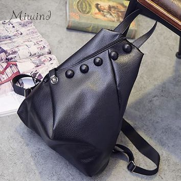 European And American Style Buttons Zipper Solid Black Foldable Backpacks PU Leather Female School Bags Teen Girl Mochila Women