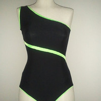 Asymmetrical Black Leotard with Lime Green Accents by IsamaaWear