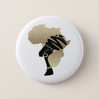 Africa In Gold Button